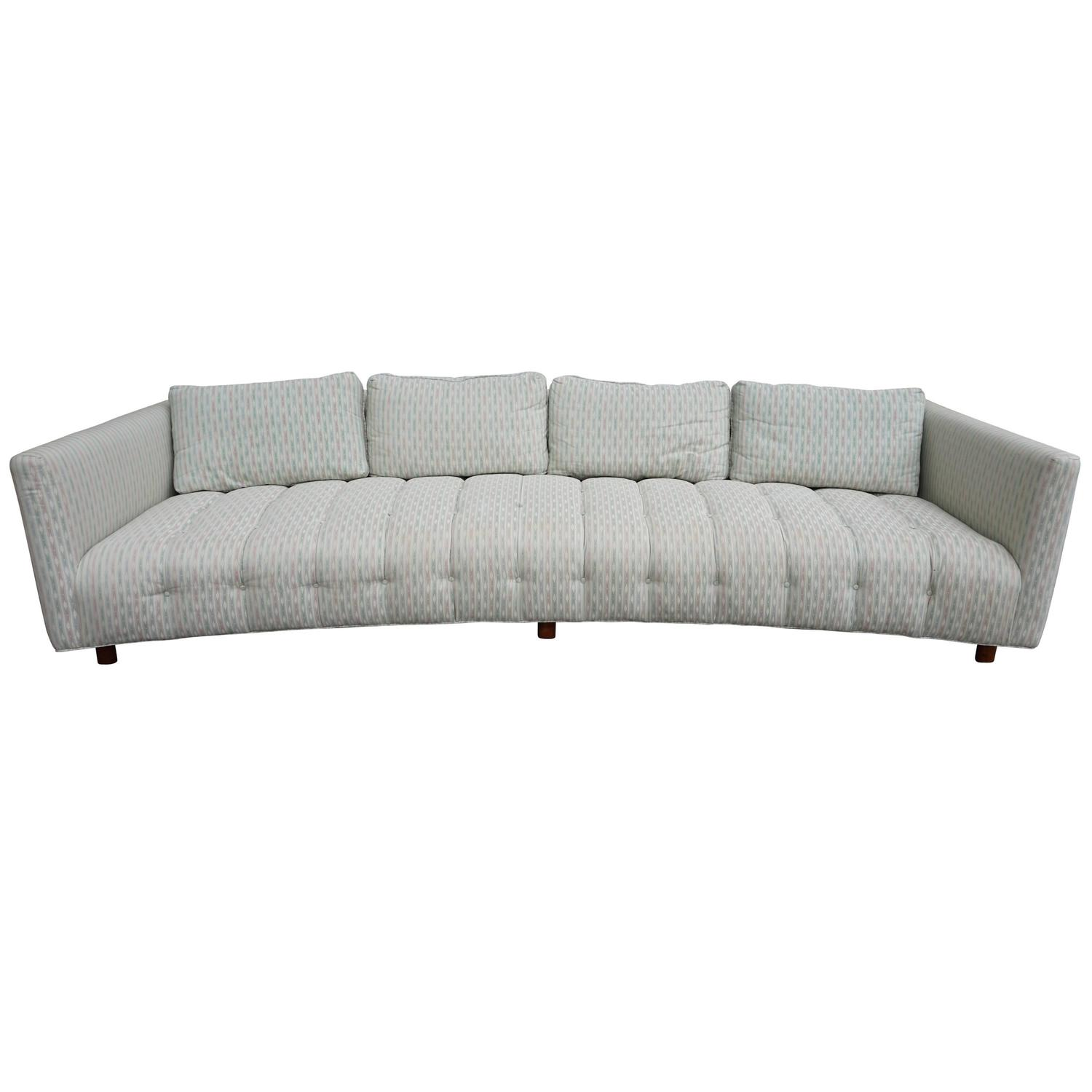 ... Long Low Curved Four-Seat Sofa, Mid-Century Modern For Sale at 1stdibs