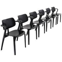 Ilmari Tapiovaara Set of Six Black 'Aslak' Armchairs