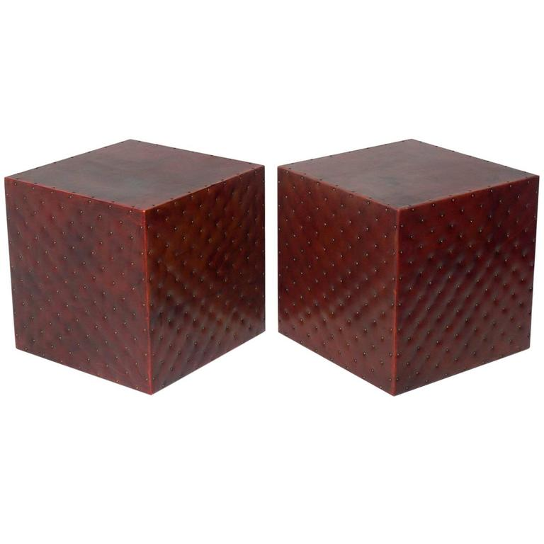 Leather and Brass Studded Cube Tables or Stools