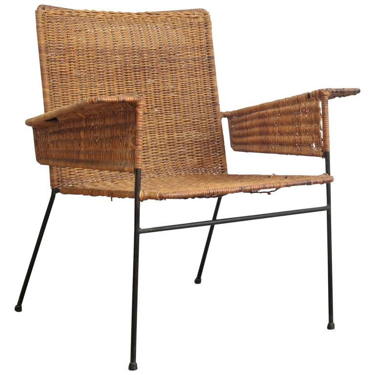 Van Keppel-Green Wicker and Wrought Iron Chair For Sale