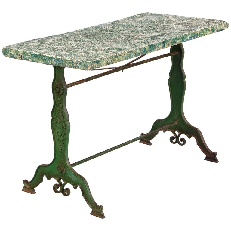 Late 1800s French Concrete Top Garden Table with Cast Iron Base For Sale
