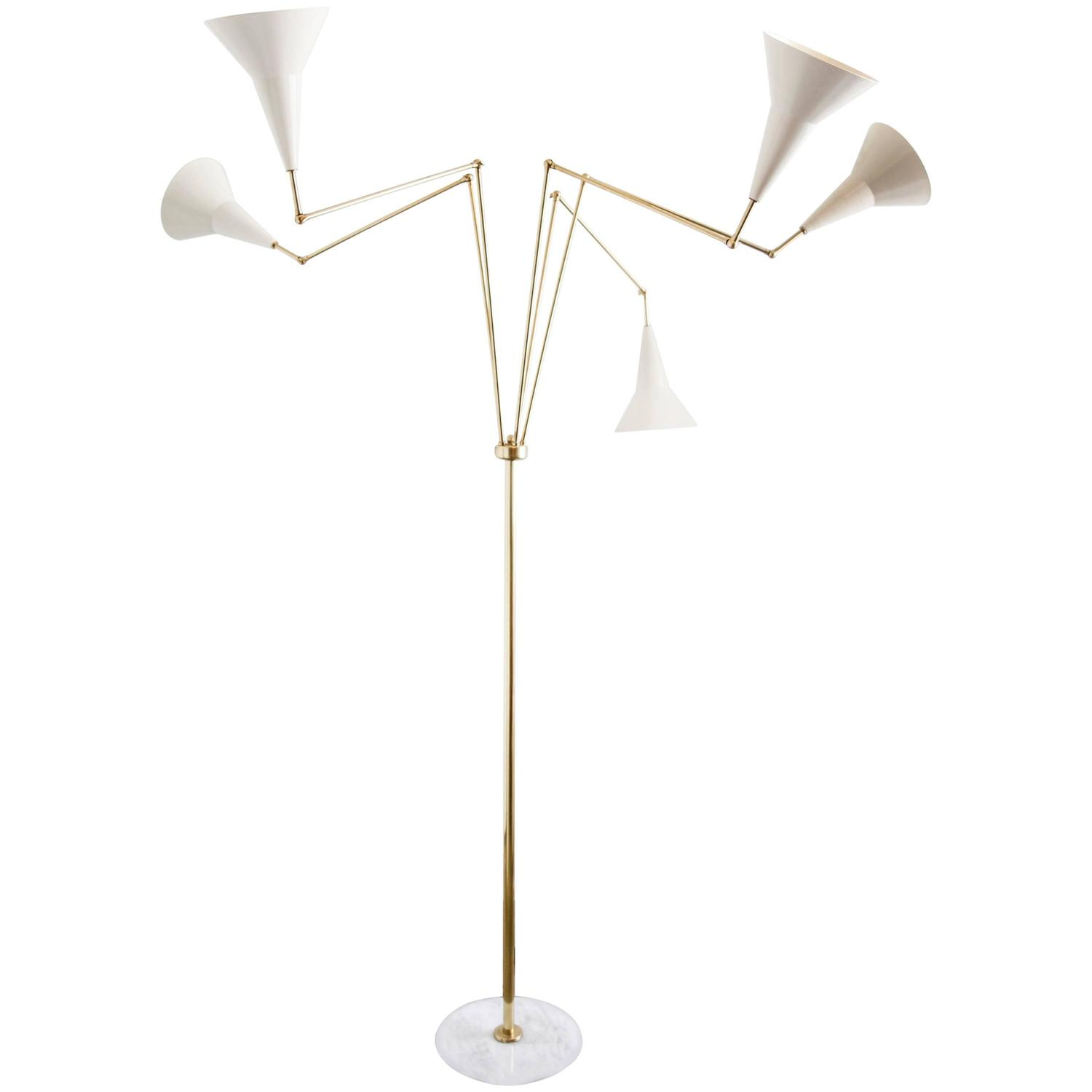mid century italian brass five arm stilnovo style floor lamp with. Black Bedroom Furniture Sets. Home Design Ideas