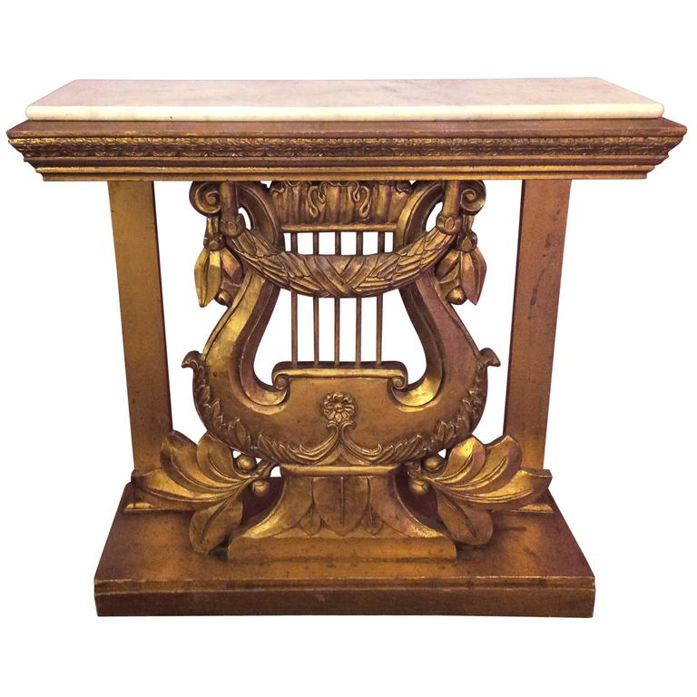 Vintage Hand-Carved Italian Gilt Harp Console Table At 1stdibs