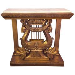 Vintage Hand-Carved Italian Gilt Harp Console Table