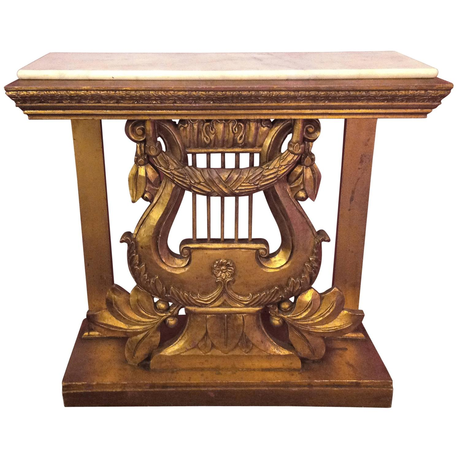 Vintage Hand-Carved Italian Gilt Harp Console Table For