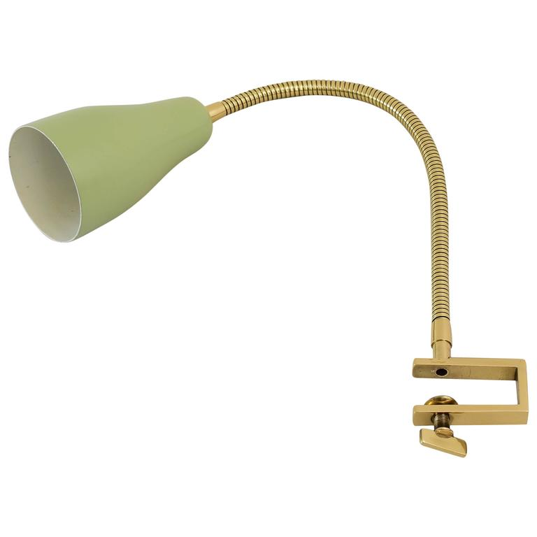 Flexible Clamp Brass Table Lamp with Green Shade, circa 1950s