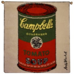 Fabulous Andy Warhol Campbell's Soup Can Rug / Tapestry Mid-Century Modern