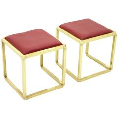 Pair of Rare Stools by Marzio Cecchi, Italy 1970s, Brass and Leather