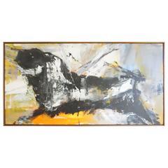 Exciting Gino Hollander Bull Toro Oil Painting Mid-Century Modern