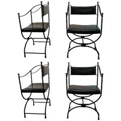 Set of Four Savonarola Iron and Bronze Armchairs