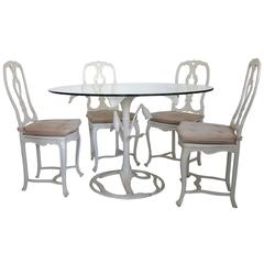 Arthur Court Tiger Lily Table with Four Aluminum Chairs