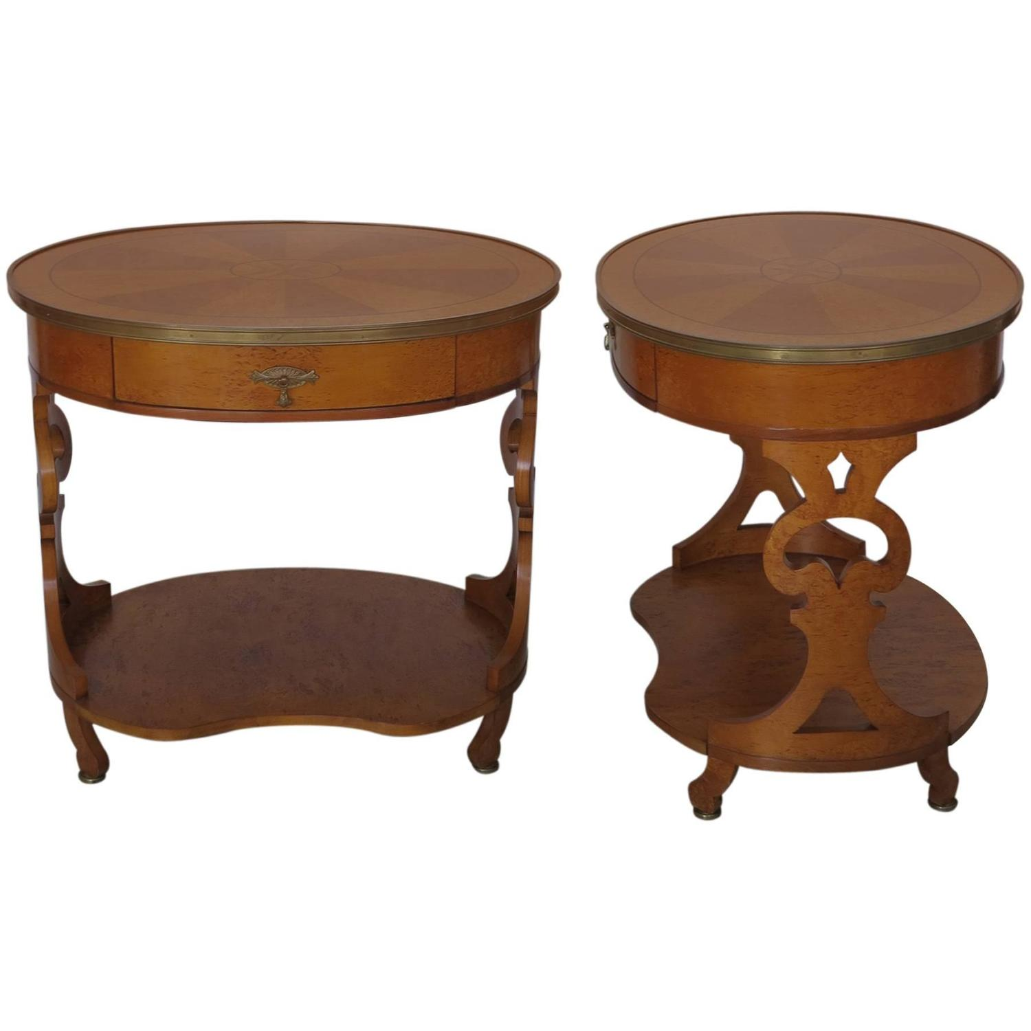John Widdicomb Pair Of Side Or End Tables Birdseye Maple With Inlays At 1stdibs