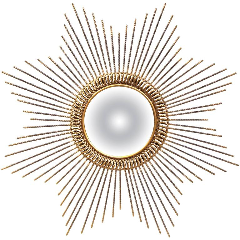 Early 20th Century French Metal Sunburst Mirror with Antique Bronze Finish