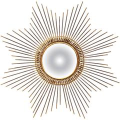 Early 20th Century French Bronzed Metal Sunburst Mirror