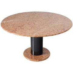 Ettore Sottsass Rose Marble Pedestal Dining Table