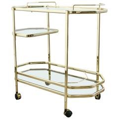 Mid-Century Italian Brass Bar Cart with Removable Mirrored Tray