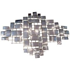 Striking Brutalist Chrome X-Large Wall Sculpture by Jere
