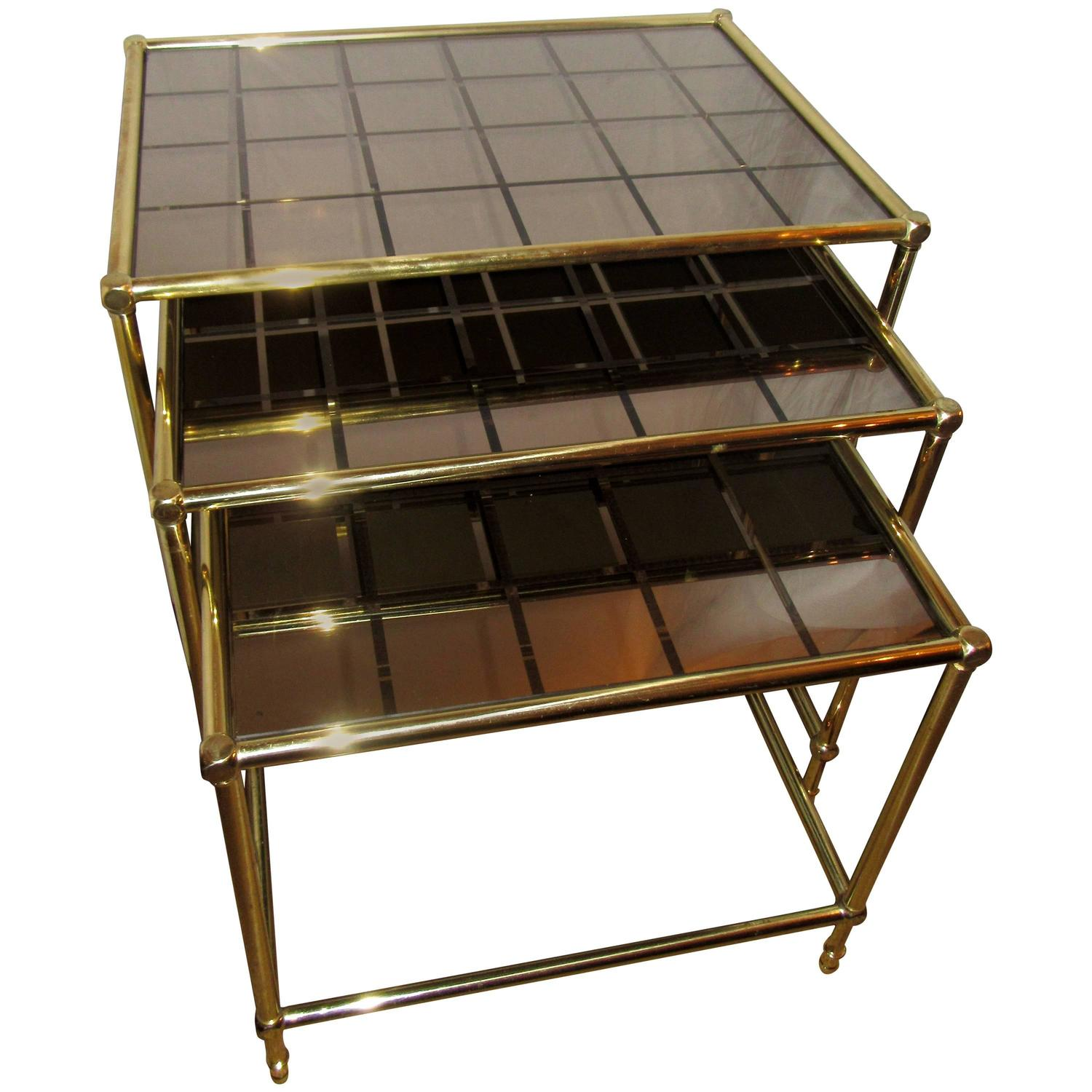 French Brass Nesting Tables With Amber Mirrored Grid Design Glass For . Full resolution  portraiture, nominally Width 1500 Height 1500 pixels, portraiture with #9B8830.