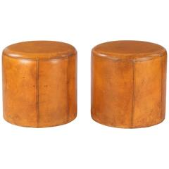 Vintage Pair of French Leather Ottomans or Poufs, circa 1950s