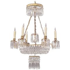 Early 20th C French Baltic Crystal and Bronze Basket Chandelier