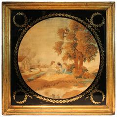 19th Century Folk Art Embroidered Children in a Landscape
