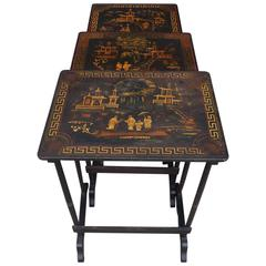 Set of Three English Japanned & Stenciled Figural Nest of Tables, Circa 1880