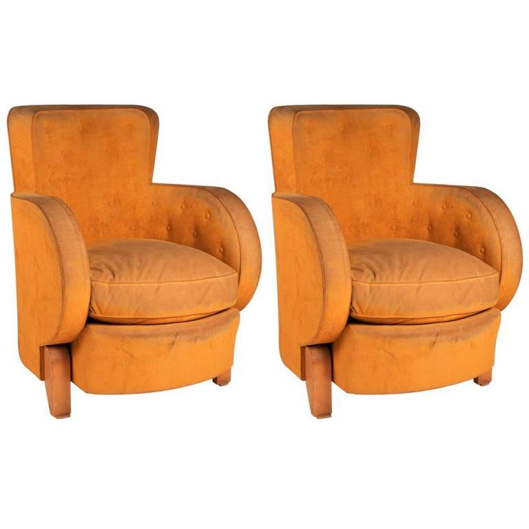 René Drouet Pair of Modernist Club Chairs