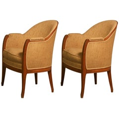 Leon Jallot Pair of Sculpted Pearwood Armchairs