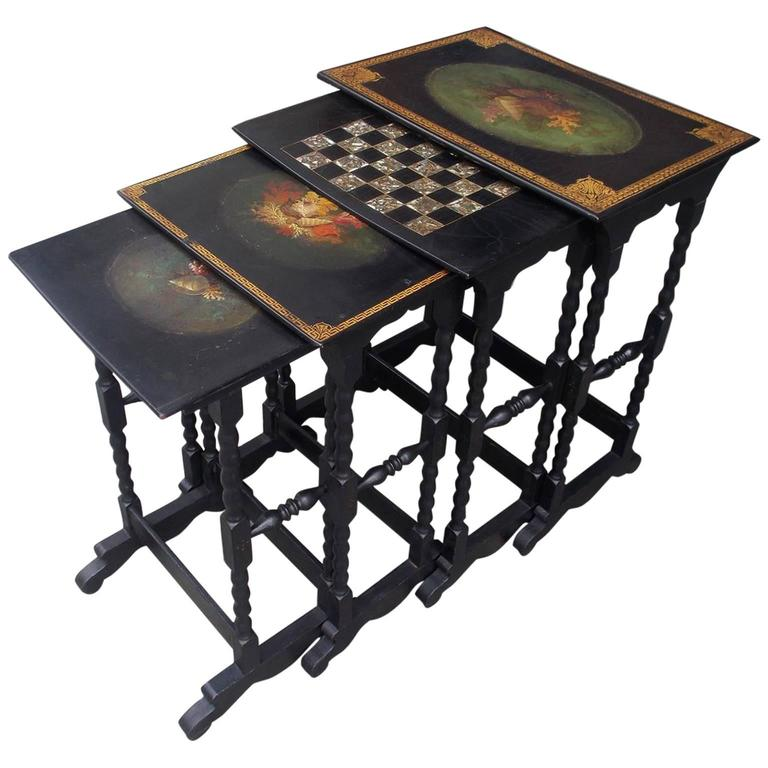 Set Of Four English Regency Paper M Ch Painted And Gilt Nest Of Tables For Sale At 1stdibs