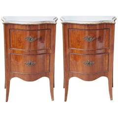 Pair of Italian Louis XVI Commodini with Marble Tops