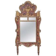 French Provencal Painted and Gilt Mirror