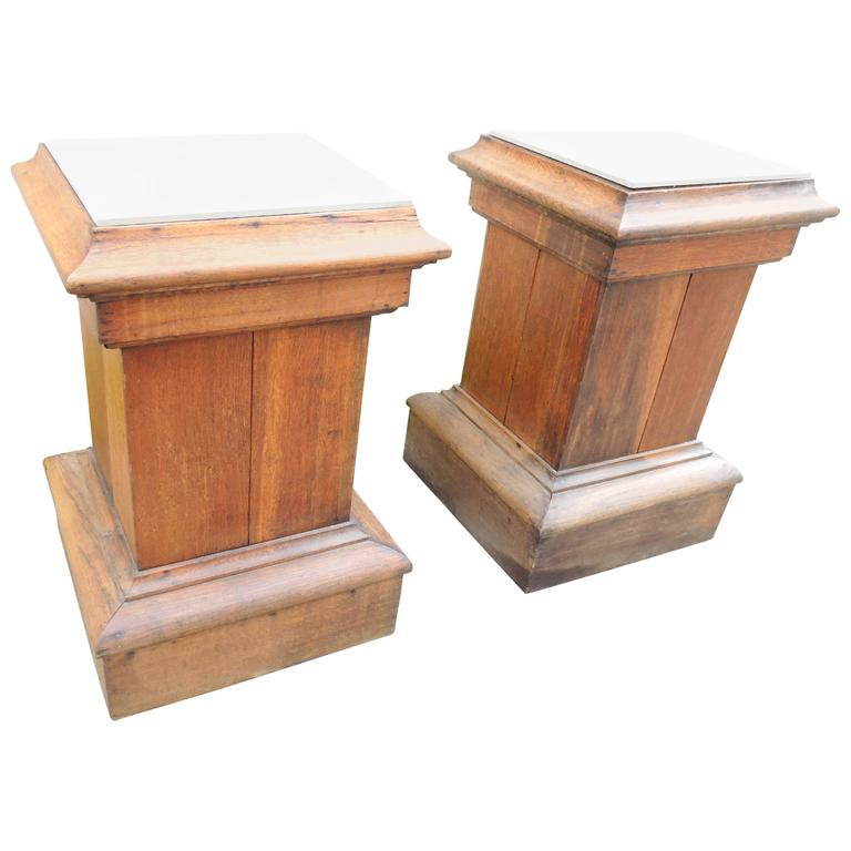 Pair of 19th Century Oak Pedestals, France