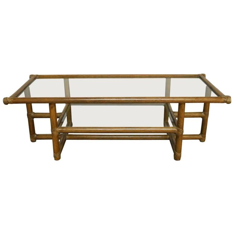 Modern Bamboo Coffee Table: McGuire Modern Rattan And Glass Coffee Table At 1stdibs
