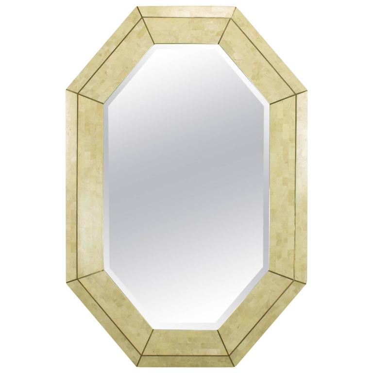 Maitland smith tessellated fossil stone and inlaid brass for Octagon beveled mirror