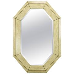 Maitland-Smith Tessellated Fossil Stone & Inlaid Brass Octagonal Beveled Mirror