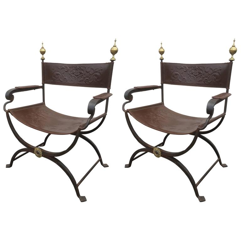 Iron Chairs For Sale Part - 18: Pair Of Wrought Iron Curule Chairs 1
