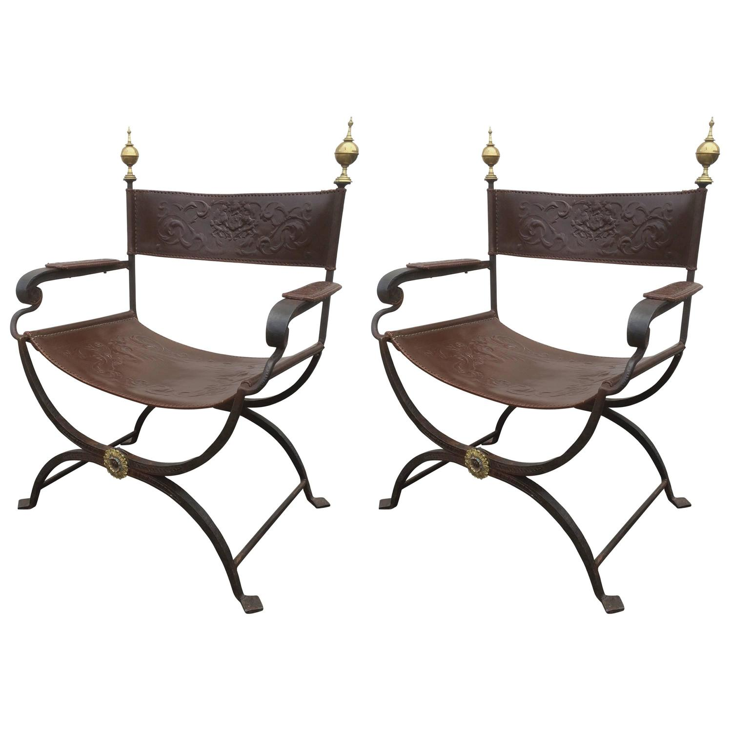 Pair of Wrought Iron Curule Chairs For Sale at 1stdibs