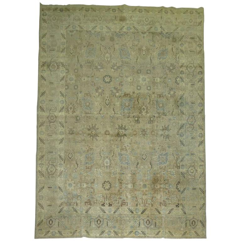 Persian Tabriz Rug in soft beige and blue