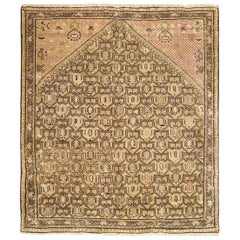 Antique Persian Seneh Oriental Rug, in Small Square Size, with Soft Earth Tones