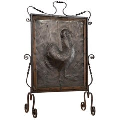Copper Plate with Repousse Cockerel Image Fireplace Screen