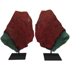 Large Bookmatched Pair of Mounted Cuprite Chrysocolla Specimens