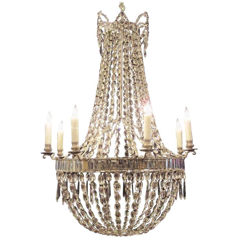 18th C English Regency Crystal Basket Chandelier