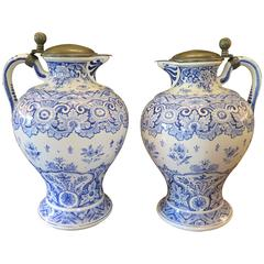 Pair of Very Large 19th Century Delft Pitchers Blue and White