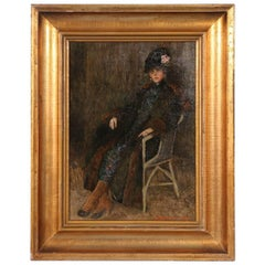 Antique Danish Oil Painting, Portrait of a Lady in a Chair, S. Jurgensen, 1920