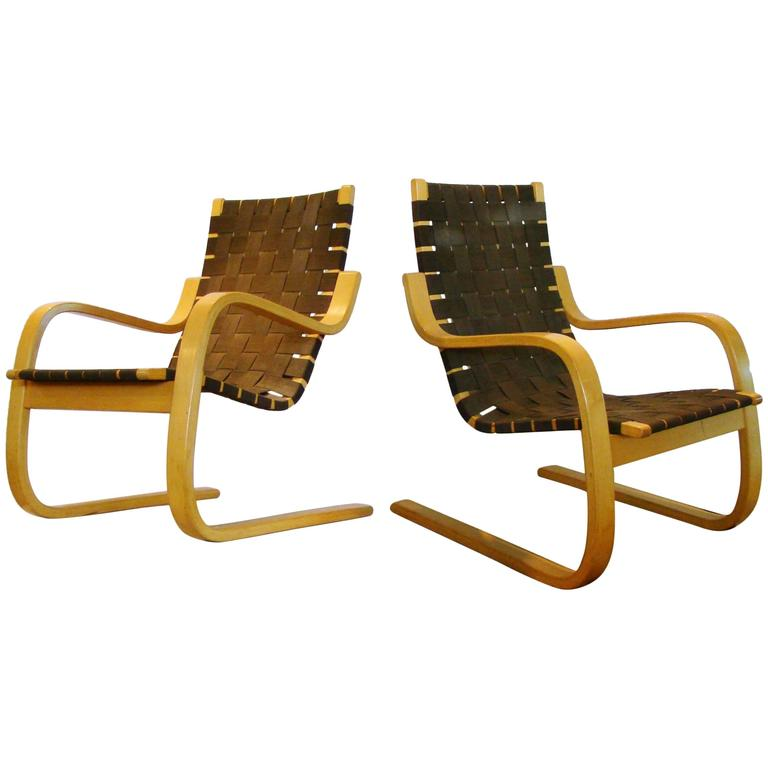Pair of Alvar Aalto Bentwood Lounge Chairs by ICF for Artek