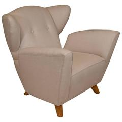 Custom Mid-Century Style Winged Chair
