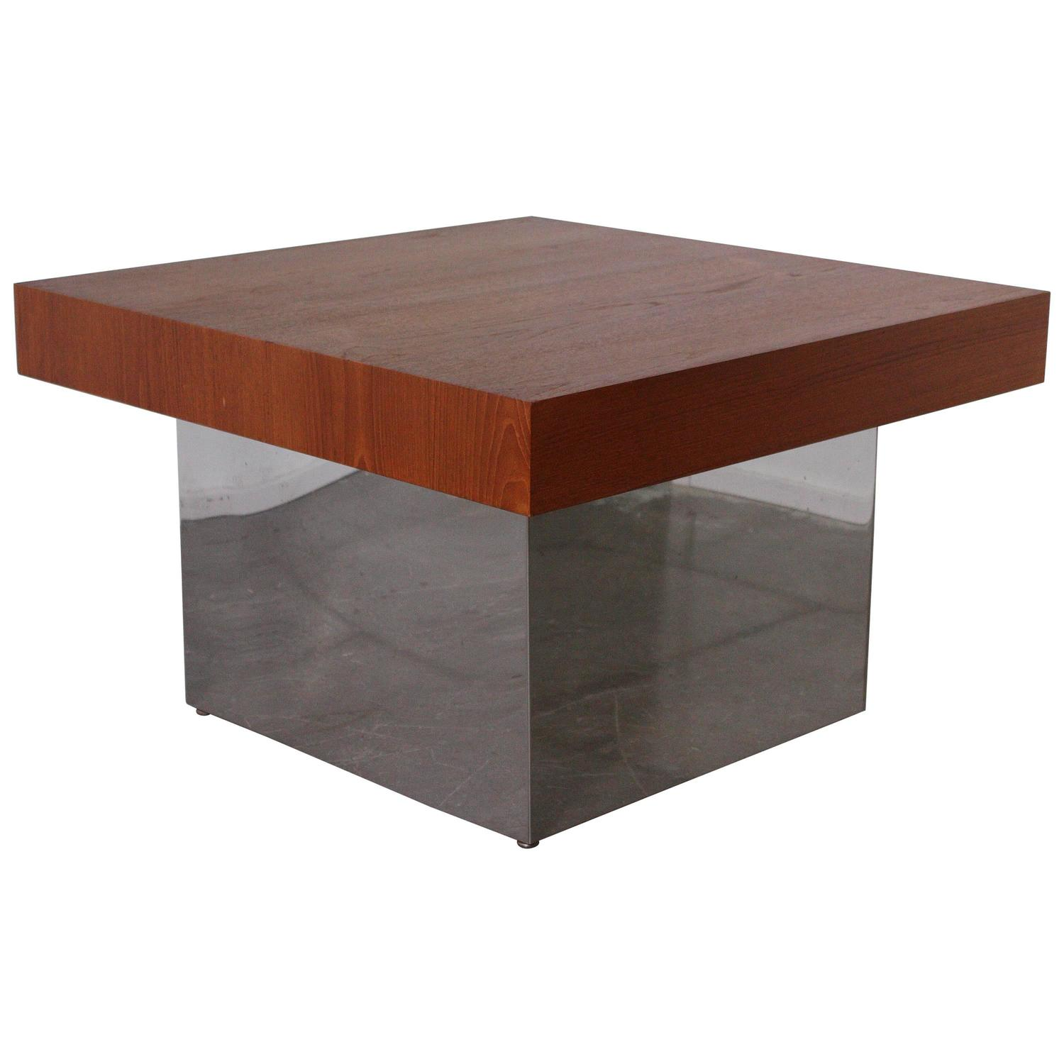 Large Cube Cocktail Table In The Style Of Milo Baughman For Sale At 1stdibs