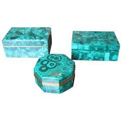 Collection of Three Vintage Malachite Boxes