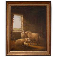 "J. Van Baelen Oil on Canvas, ""Sheep in a Barn"""
