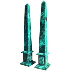 Pair of Russian Neoclassical Style Malachite Obelisks